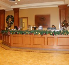 We use Garland and Lights for both indoor Christmas decorations and outdoor Christmas decoration.  Placing garland around the reception desk adds cheer to the experience. Click on pin to see more of our work.
