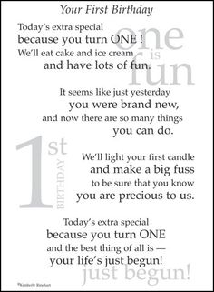 The is a 1st Birthday page poem. It's the perfect addition to your little ones special page. You get 1 clear 5 x 7 sticker sheet packaged with a col
