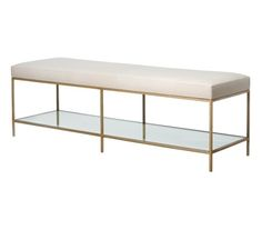 Italia Bench  Transitional, Glass, Metal, Bench by David Iatesta Studio