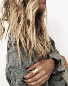 Jean Jacket + James Michelle Wave Bar Ring > Get this look on the blog now…