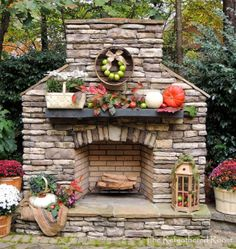 This. This stacked stone outdoor fireplace is what I REALLY wanted. The mantle is too cluttered in this pic but the fireplace is gorgeous.