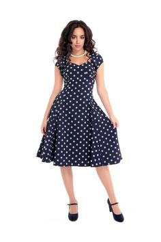 Collectif Vintage Regina Polka Dot Flock Doll Dress