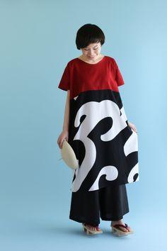 """""""Rectangle"""" Dress Chizimi Cotton Two Tone Wave Pattern : SOU • SOU US Online Store"""