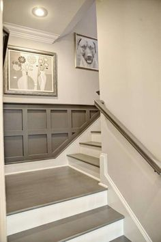 Basement Staircase Detail   Gray Painted Stairs And Railing, Gray  Wainscoting