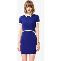 Studded Collar Sheath Dress ($30) ❤ liked on Polyvore
