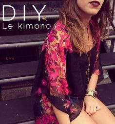 Ki ki veut un kimono ? Kimono Diy, Mode Kimono, Kimono Outfit, Kimono Fashion, Diy Fashion, Fashion Looks, Diy Clothing, Sewing Clothes, Sewing Lingerie