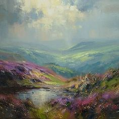Derwent Valley from Curbar Edge Rex Preston #OilPaintingArt