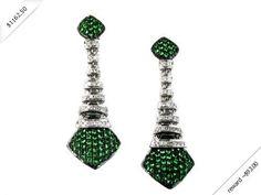 Women's Diamond & Green Garnet Earring in 14K White Gold (1.16 ctw)