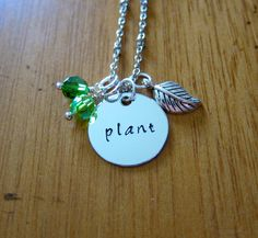 """Wall-E Inspired Necklace. Wall-E and Eve """"Plant"""" Necklace. Wall-E necklace. Hand stamped. Swarovski crystals, for women or girls. Wall e."""