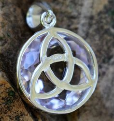 Celtic Triquetra Pendant Sterling Silver with a Rare Rose De France Amethyst