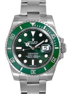 Rolex Submariner Green Dial Steel Mens Watch 116610LV by Rolex: Stainless steel case with a stainless steel oyster bracelet. Unidirectional rotating bezel. Green dial with luminous hands and luminous dots hour markers.