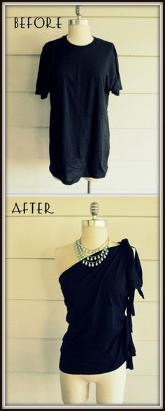 DIY No Sew One Shoulder Side Tied Tee Shirt Tutorial from Wobisobi. For more really good no sew tee shirt tutorials go by <((><ing for stars