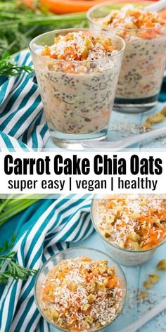These carrot cake overnight oats with chia seeds, walnuts, and coconut flakes ar . - These carrot cake overnight oats with chia seeds, walnuts, and coconut flakes ar … – Health eff - Whole Food Recipes, Vegan Recipes, Cooking Recipes, Recipes With Chia Seeds, Vegan Food, Delicious Recipes, Vegan Desserts, Cake Recipes, Healthy Vegan Breakfast