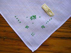 Vintage Handkerchief Embroidered Clovers by BeautifulPurpose