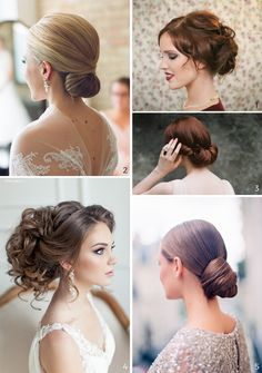 Wedding Hairstyles: 5 Unavoidable Trends. 5 brides with different kinds of buns.