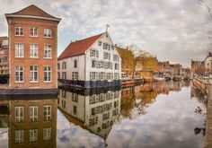 Beautiful waterfront in the city center of Lier
