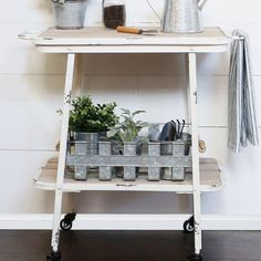 Our tool cart is a 2 tier rolling cart that will be great in the kitchen, garden shed, or even bathroom. Use this utility cart to hold potting tools, kitchen supplies and even bathroom essentials! For more visit, Decor Steals