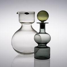 """KAJ FRANK - Glass carafe """"Kremlin kellot"""" (Bells of Kremlin) for Nuutajärvi Notsjö 1960 and 1961, Finland."""