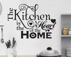 Kitchen Vinyl Wall Decal- Kitchen the Heart of the Home- Lettering Decor Sticky Decals, Vinyl, Stand Alone Kitchen Pantry, Freshen Up, Home Decor Decals, Kitchen Vinyl, Vinyl Wall Decals Kitchen, Home, Wall