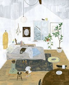 "5,923 Gostos, 39 Comentários - Sandra Apperloo (@artisticmoods) no Instagram: ""Lovely, cozy room I want to live in by illustrator @fmkik #fumikoike #illustration"""