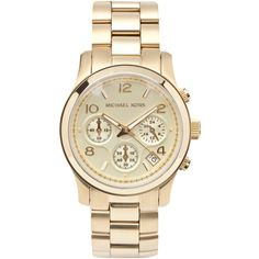 Womens Watches Michael Kors Gold Tone Stainless Steel Chronograph... ($360) ❤ liked on Polyvore