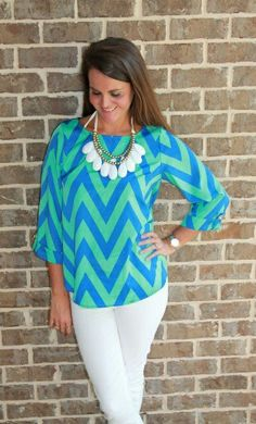 Chevron shirt with big necklace