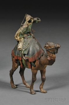 "Vienna Cold-painted Bronze Bedouin on Camelback, Austria, 20th century, marked ""Vienna St. B."