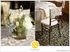 Lovely rustic look with the flowers with a touch of elegance with the rosette runner and chair cap. Creative Coverings Specialty Linen Rental and Sales