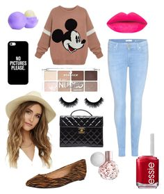 """School "" by larissa-bens on Polyvore featuring mode, 7 For All Mankind, Rowen, Chanel, San Diego Hat Co., Casetify, Essie, Eos, women's clothing en women"