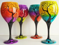 Awesome hand painted wine glasses by WineMe on etsy. - Wish I could afford the $40 a glass! Painting On Wine Glasses, Wine Painting, Hand Painted Wine Glasses, Decorated Wine Glasses, Bottle Painting, Painting Art, Bottle Art, Fall Wine Glasses, Wine Glass Crafts
