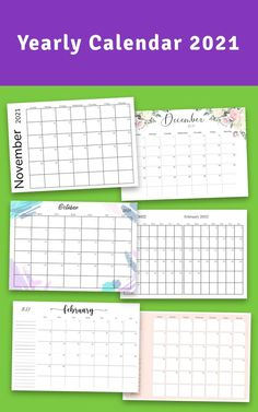 Yearly Calendar 2021 template to help you organize birthday dates and track upcoming events easily. Getting organized and focused can make all the difference. Is both printable and iPad-friendly for analog and digital usage. #calendar #yearly #planner #happy #2021