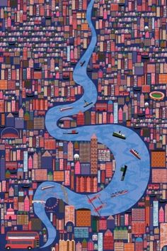 Visions of the Thames: 2011 Serco-Preis für Illustration – City Illustration Map Quilt, London Transport Museum, City Illustration, River Thames, Art Graphique, London Art, Birds Eye View, Illustrations, Interactive Design
