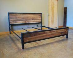 Kraftig Bed Number 4 with Walnut by deliafurniture on Etsy Industrial Bed Frame, Industrial Furniture, Steel Furniture, Diy Furniture, Furniture Design, System Furniture, Furniture Plans, Wood Beds, Metal Beds