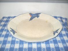 Vintage Bluebird China Serving Meat Platter Plate H. R. Wyllie Chins?