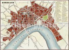 Plan de Bordeaux , Monin, 1835