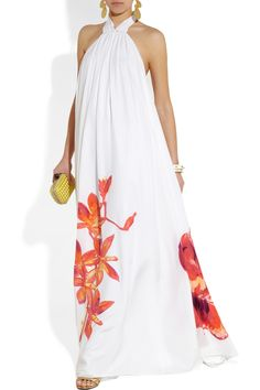 LOVE this dress! Looks so pretty and comfy -- Issa|Printed silk halterneck gown|