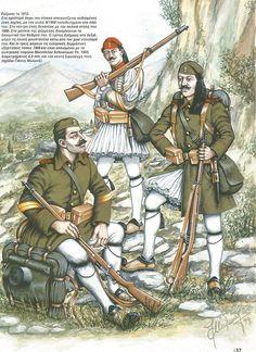 Greek Euzonoi (Elite Troops) Balkan Wars 1912-13 Old Warrior, Greek Warrior, Military Art, Military History, World War One, First World, Greek Independence, Greek History, Edwardian Era