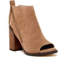 Dolce Vita Rowen Open Toe Suede Bootie ($72) ❤ liked on Polyvore featuring shoes, boots, ankle booties, almond sue, suede booties, short suede boots, chunky heel ankle booties, chunky-heel ankle boots and short boots