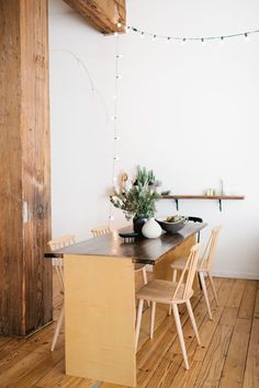 narrow dining table & light string
