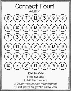 """Addition connect four - Love this easy printable version of """"connect 4"""" adapt the game for multiplication too!:"""