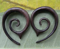 1 PAIR SONO WOOD oval spiral 6 Gauge 4mm Size. $12.00, via Etsy.