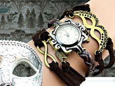 Armbanduhren - SHADES braune Armbanduhr Damenuhr Wickeluhr Uhr - ein Designerstück von Schloss-Klunkerstein bei DaWanda