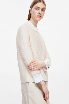 COS image 2 of Textured knit jumper in Cream