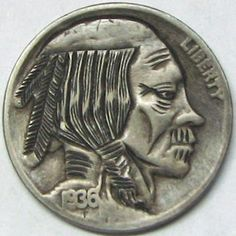 RUTH BORM HOBO NICKEL - THE OLD GEEZER - 1936 BUFFALO PROFILE Hobo Nickel, Buffalo, Coins, Old Things, Carving, Profile, User Profile, Rooms, Wood Carvings
