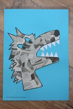 Science Projects For Kids, Art Projects, Wolf Craft, Wolf Kids, Red Riding Hood Wolf, Newspaper Crafts, Fairytale Art, Collaborative Art, Little Pigs