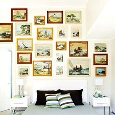 paint by number seascape wall.............Dishfunctional Designs: How To Upcycle Thrift Shop Finds Into Trendy Home Decor: Part Two!