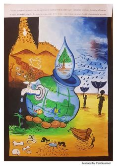 NIFT, NID Poster on Water Conservation by students in competitions held by TRENDZ Academy. Earth Drawings, Demon Drawings, Art Drawings For Kids, Save Earth Drawing, Nature Drawing, Save Environment Posters, Save Environment Poster Drawing, Save Water Poster Drawing, Poster On Save Water