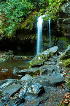 Grotto Falls - This beautiful waterfall is located in the Great Smoky Mountains National Park!