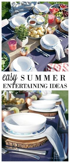 Easy Summer Entertaining Ideas - Tons of Tips For A Backyard Gathering - Trend Unterhaltsame Ideen 2019 Outdoor Table Decor, Dinner Party Decorations, Table Decorations, Summer Bbq, Party Summer, Elegant Dinner Party, Easy Entertaining, Tonne, Backyard