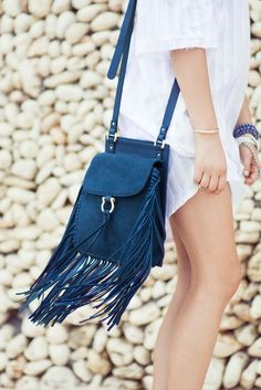 Sancia Belleza bag with fringe in royal | Soleil Blue
